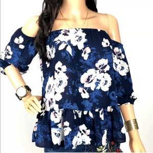 Moa Moa Blue Floral Off Shoulder Blouse Size XS